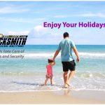 father child walking on sand at Stewart Beach Galveston TX