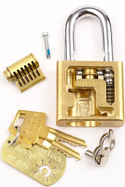 interchangeable core padlock disassembled