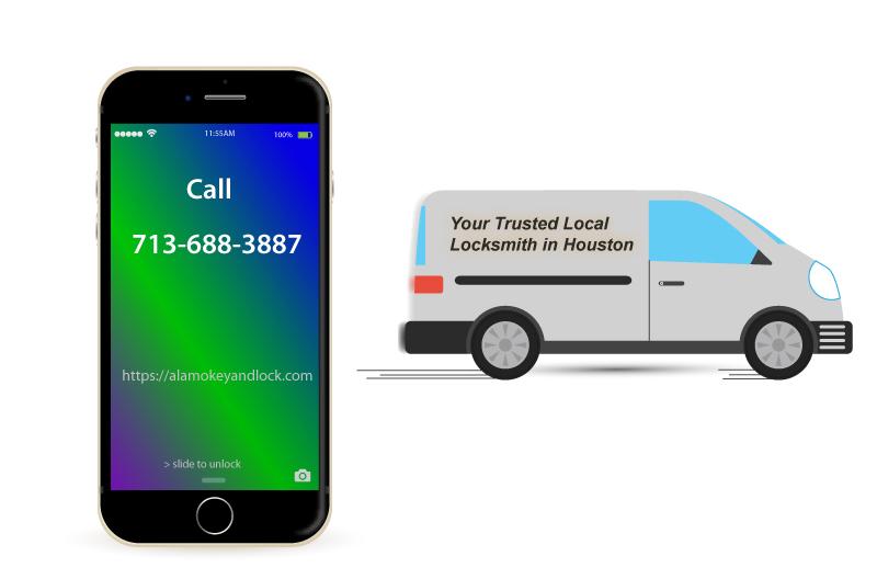 locksmith van and a mobile phone illustration